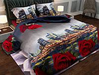 Евро-макси набор постельного белья Черешенка Gold №15201530 200х220 из Бязи Синий с красным (BC3G15201530)