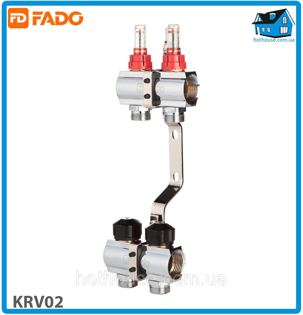 """Колектор з витратомірами FADO FLOOR KRV02 1""""х3/4"""" 2 виходи"""