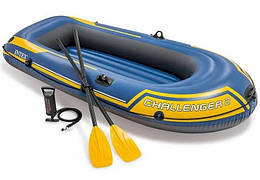 Надувная лодка Challenger 2 Set (до 200 кг) 236х114х41 см + весла/насос   Двухместная надувная лодка Intex