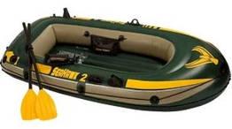Надувная лодка Seahawk 2 Set (до 200 кг) 236х114х41 см + весла/насос   Двухместная надувная лодка Intex