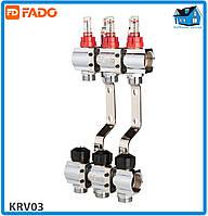 """Коллектор с расходомерами FADO FLOOR KRV03 1""""х3/4"""" 3 выхода"""