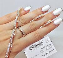 """Шикарный женский серебряный браслет с золотыми вставками (пластинами) """"Ультра"""" с фианитами, фото 3"""