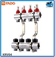 """Колектор з витратомірами FADO FLOOR KRV04 1""""х3/4"""" 4 виходи"""