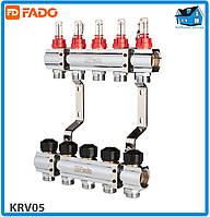 """Коллектор с расходомерами FADO FLOOR KRV05 1""""х3/4"""" 5 выходов"""
