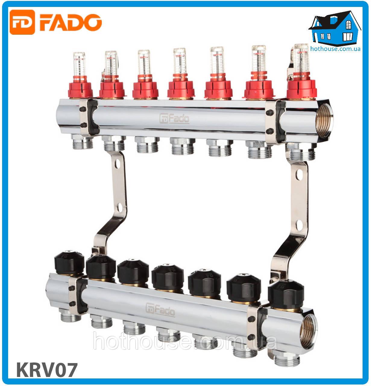 """Колектор з витратомірами FADO FLOOR KRV07 1""""х3/4"""" 7 виходів"""