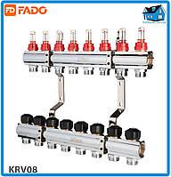 """Колектор з витратомірами FADO FLOOR KRV08 1""""х3/4"""" 8 виходів"""