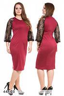 Платье большого размера с гипюровыми рукавами-реглан