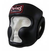 Шлем боксерский Twins тренировочный кожаный HGL-6, шлем для бокса и единоборств, фото 1