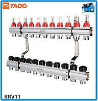 """Коллектор с расходомерами FADO KRV11 FLOOR 1""""х3/4"""" 11 выходов"""