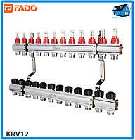 """Колектор з витратомірами FADO KRV12 FLOOR 1""""х3/4"""" 12 виходів"""