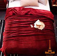 Плед меховый Love You в полоску 200х220, бордовый