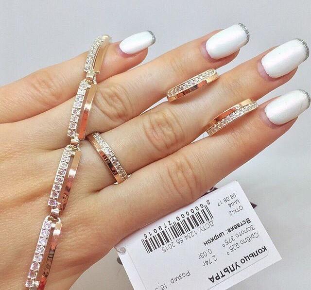 Шикарный Серебряный набор женских украшений с золотыми вставками пластинами - серьги, кольцо и браслет Ультра
