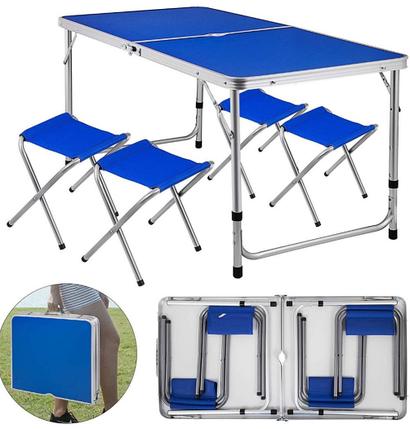Стол + 4 стула для пикника. 120×60см. Цвет: синий, дерево, серебро., фото 2