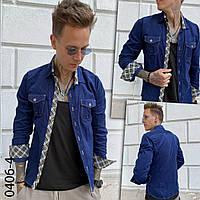 Вельветовая синяя мужская рубашка YXC 0406-4 ,Турция