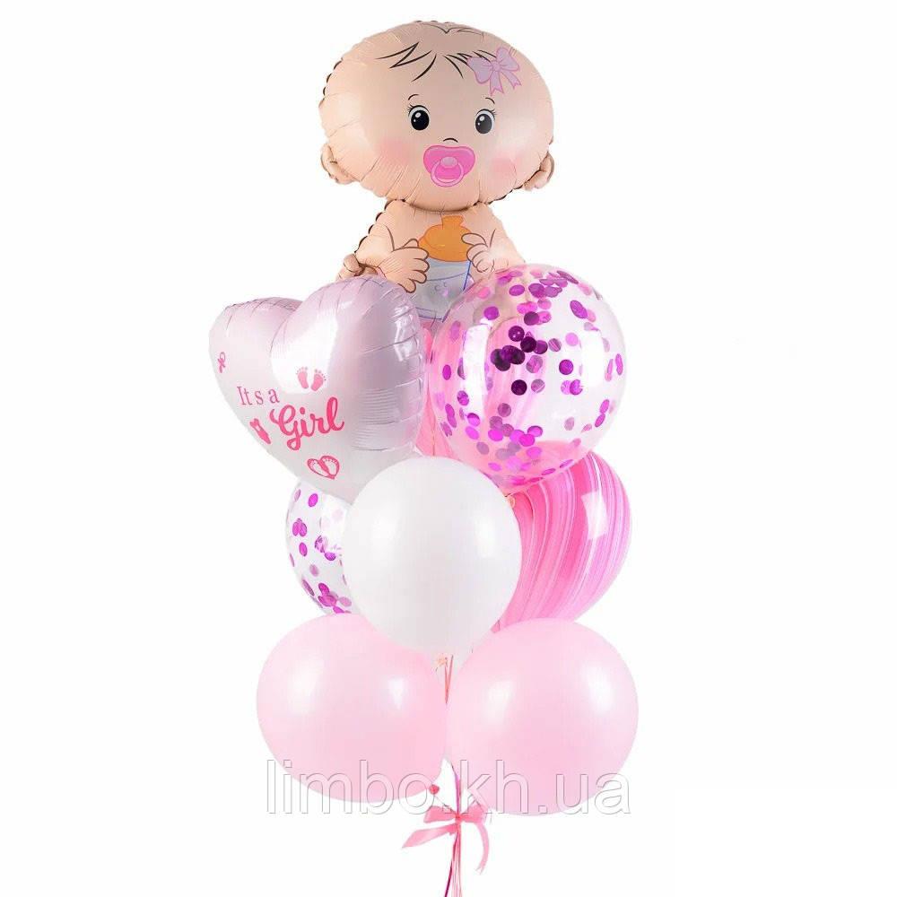 Кульки на виписку дівчинці з фігурою Карапуз і серце з індивідуальною написом