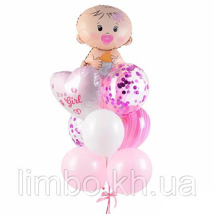 Кульки на виписку дівчинці з фігурою Карапуз і серце з індивідуальною написом, фото 2