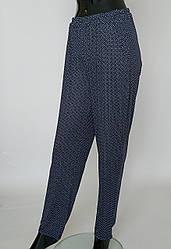 Летние женские брюки синего цвета из тонкой ткани ( с 48 по 64 р)