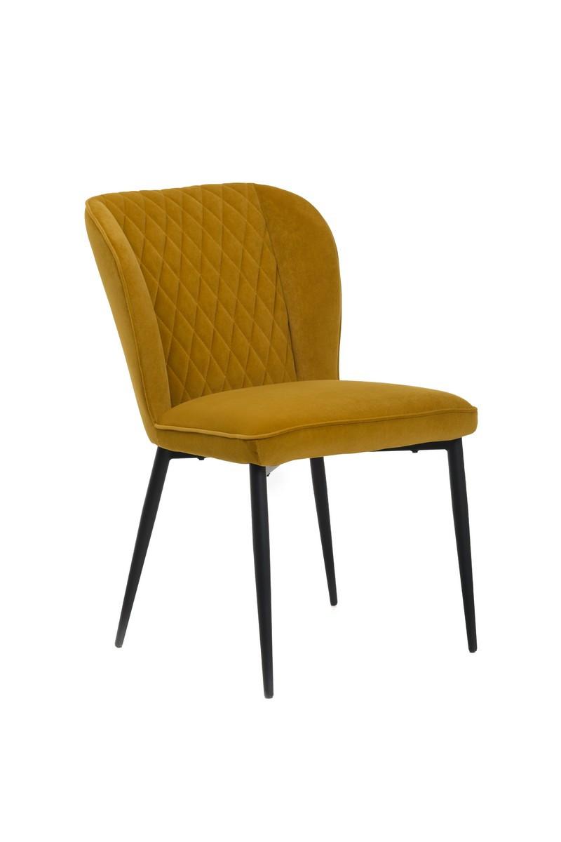 Стілець M-44 гірчичний м'яке вельвет крісло модерн метал