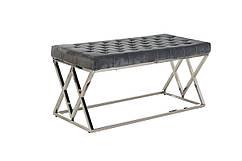 Лавка-банкетка BN-2 М'яка, стильна, для спальні і коридору, колір сірий / срібло