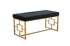 Лавка-банкетка BN-1 М'яка, стильна, для спальні і коридору. Колір чорний / золото