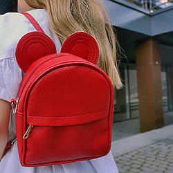 Рюкзак-сумка с ушками мыши, красный (RKU_004_KR)