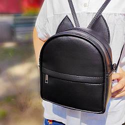 Рюкзак-сумка с ушками кота черный (RKU_007_BL)