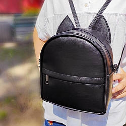 Рюкзак-сумка з вушками кота чорний (RKU_007_BL)