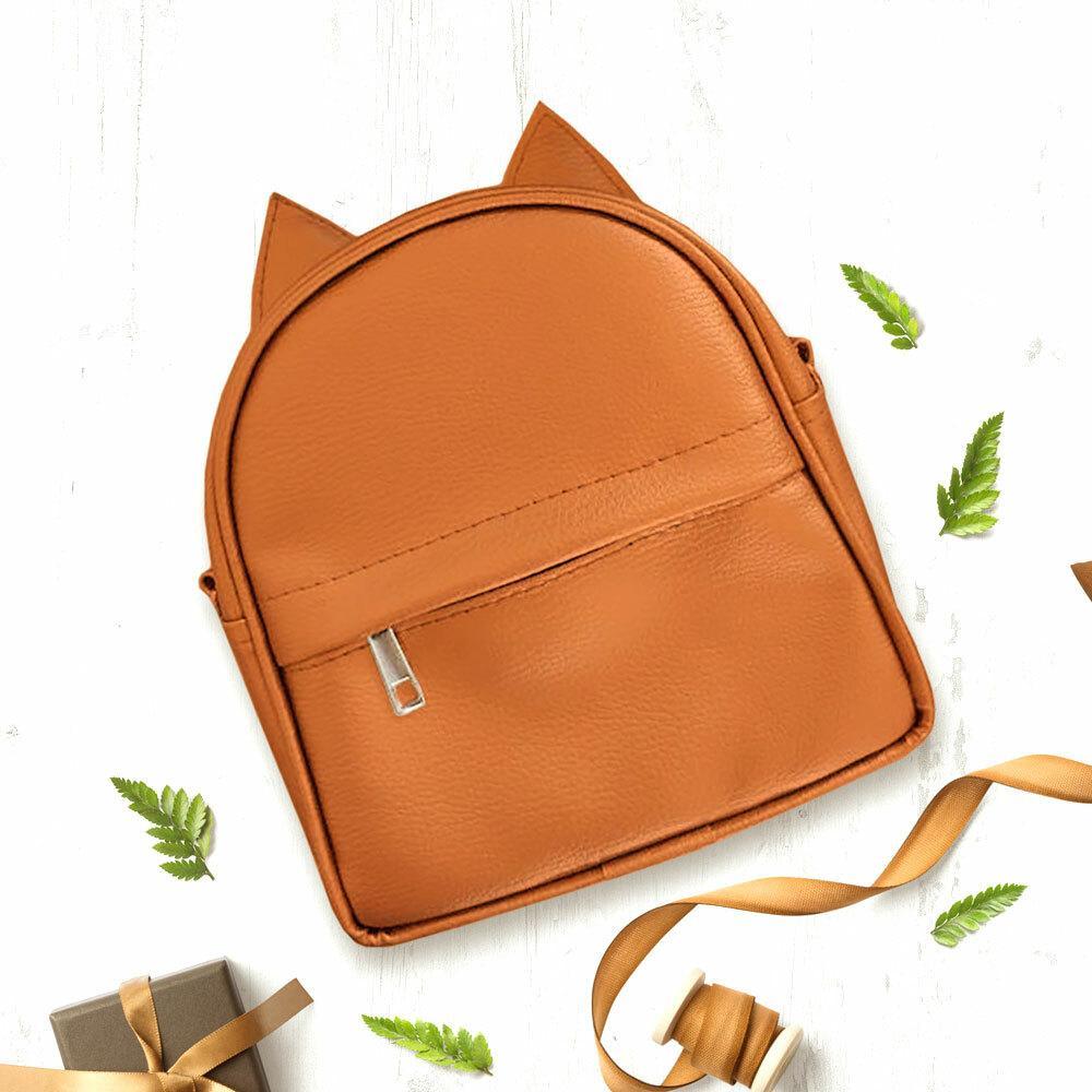 Рюкзак-сумка с ушками кота рыжий (RKU_008_BR)