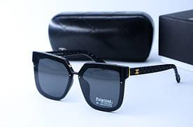 Женские солнцезащитные квадратные очки поляризованные 9550 черные