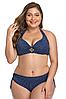 Купальник роздільний жіночий великі розміри 48 - 56 Milana синій з принтом