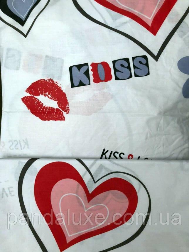 Постельное белье бязь голд, двуспальный евро комплект Поцелуй, фото 2