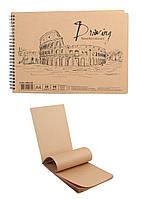 Альбом для рисования с коричневой крафт-бумагой на двойной спирали, 30 листов. 90 г/м., A4, AB4130