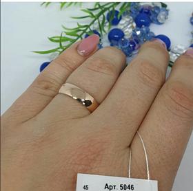 Обручальное кольцо 925 пробы со вставкой золота 375 пробы по всему кругу Классика, диаметр 5 мм