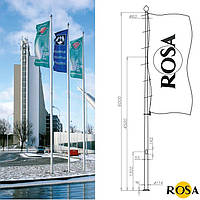 Флагштоки алюминиевые ROSA высотой от 6-ти до 16-ти метров (цены на весь ассортимент см. в описании товара)