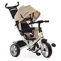 Детский велосипед трехколесный  для мальчика или девочки TURBO TRIKЕ  M 3113-9L бежевый