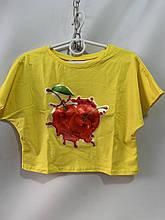 Детский топ для девочки на лето вишня р. 6-12 лет желтый