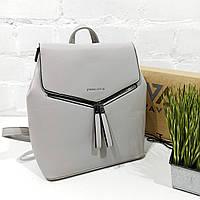Рюкзак жіночий, сірий, шкірзам Арт.HS316 Eteral Smile (Китай) (Большой женский серый городской рюкзак-сумка из кожзаменителя)