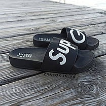 Super Girl черные Шлепки резиновые тапочки тапки женские пляжные шльопанці гумові тапочки чорні, фото 3