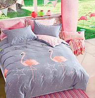Постельный комплект двухспальный 175х215 хлопок фламинго на сером