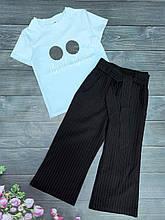 Подростковый комплект футболка и кюлоты в мелкую полоску для девочки р.128-152