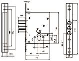 Замок для металлических дверей USK 257R Никель, фото 2