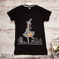 Черная женская футболка с принтом Carla Mara 3211-1