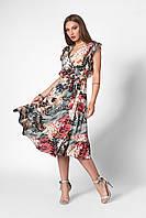 Летнее платье с оборкой серое