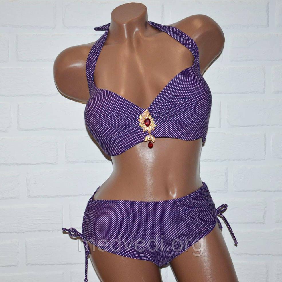 60 размер (7XL) женский купальник фиолетовый горох с брошкой, раздельный на завязках