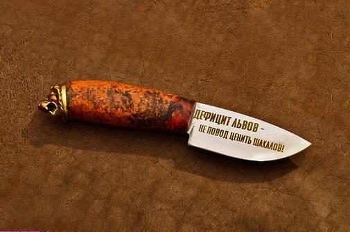 "Шкуросъемный охотничий нож ручной работы ""Лев"", 9Х, фото 2"