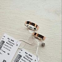 Обручальное кольцо 925 пробы со вставкой золота 375 пробы по всему кругу Американка, диаметр 4 мм