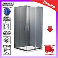 Квадратная душевая кабина 100х100 см двери раздвижные Dusel А-513 стекло тонированное