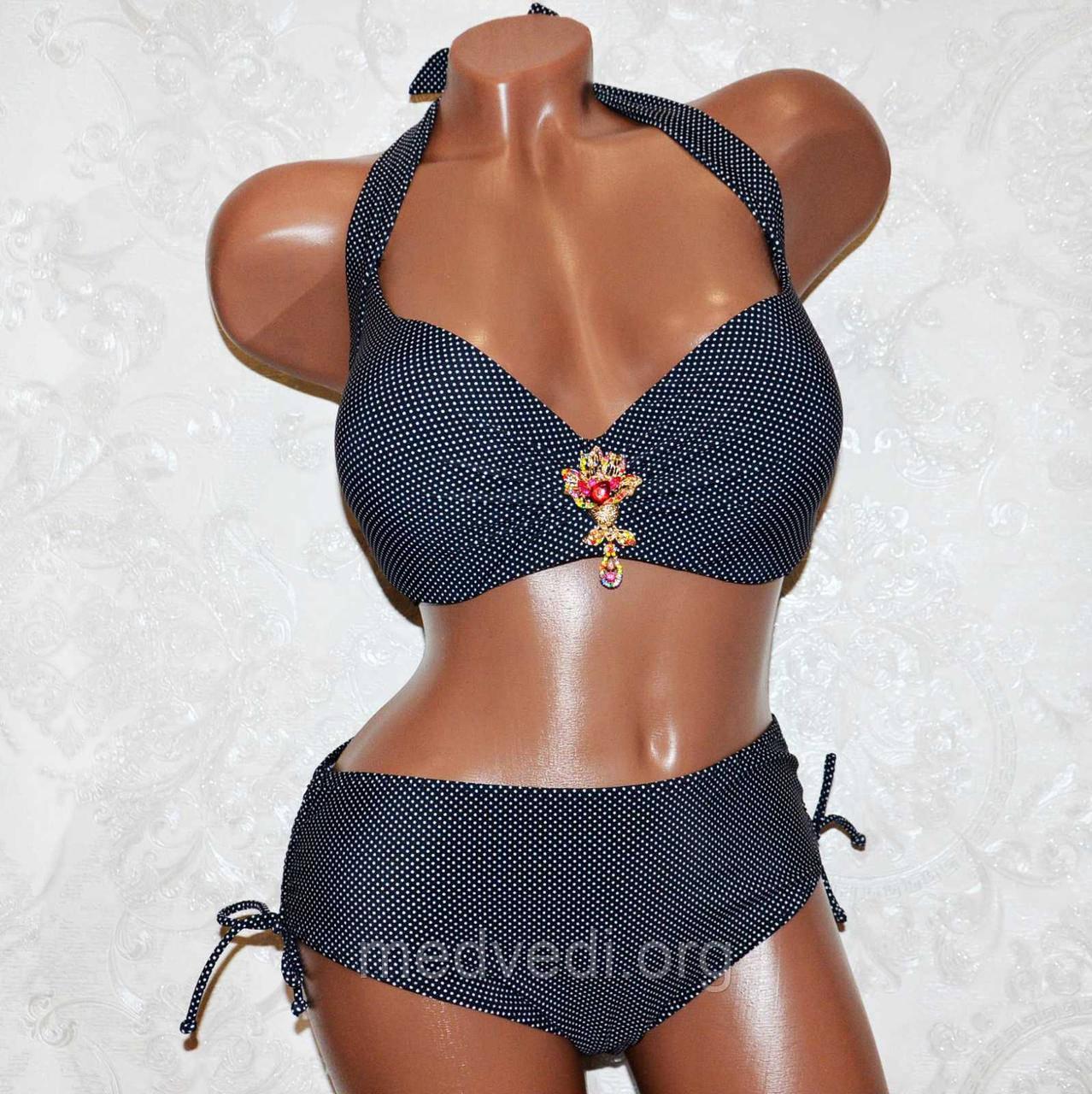 Для пышной груди классический черный купальник (большой размер 54) раздельный, для женщин, лиф с чашкой