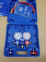 Манометрический коллектор двухвентельный  VALUE  VMG-2-R134-В шланги 90 см + 2 автомуфты(  R134(чемодан), фото 1