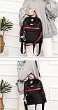 Рюкзак-сумка женский черный с красным, фото 9